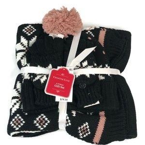 Charter Club 3pc Black Gift Set Scarf Hat & Gloves